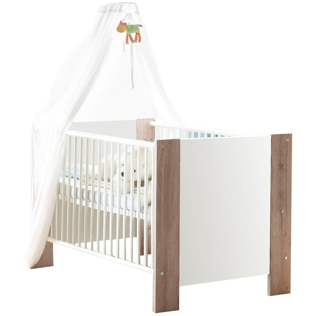 Babyzimmer-Komplettset »Madrid«, (Set, 3 St.), Bett + Wickelkommode + 3 trg. Kleiderschrank