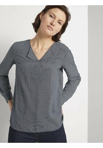 TOM TAILOR Shirtbluse »Gemusterte Bluse mit LENZING(TM) ECOVERO(TM) und V-Ausschnitt« kaufen