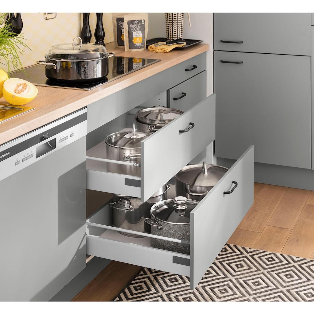 OPTIFIT Küchenzeile »Elga«, ohne E-Geräte, Premium-Küche mit Soft-Close-Funktion, großen Vollauszügen, höhenverstellbaren Füßen, Metallgriffen und 38 mm starker Arbeitsplatte, Breite 390 cm