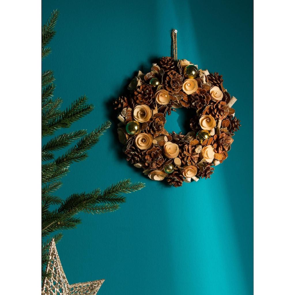 Dekokranz, mit Naturmaterialien und glänzenden Kugeln gestaltet, Ø 42 cm