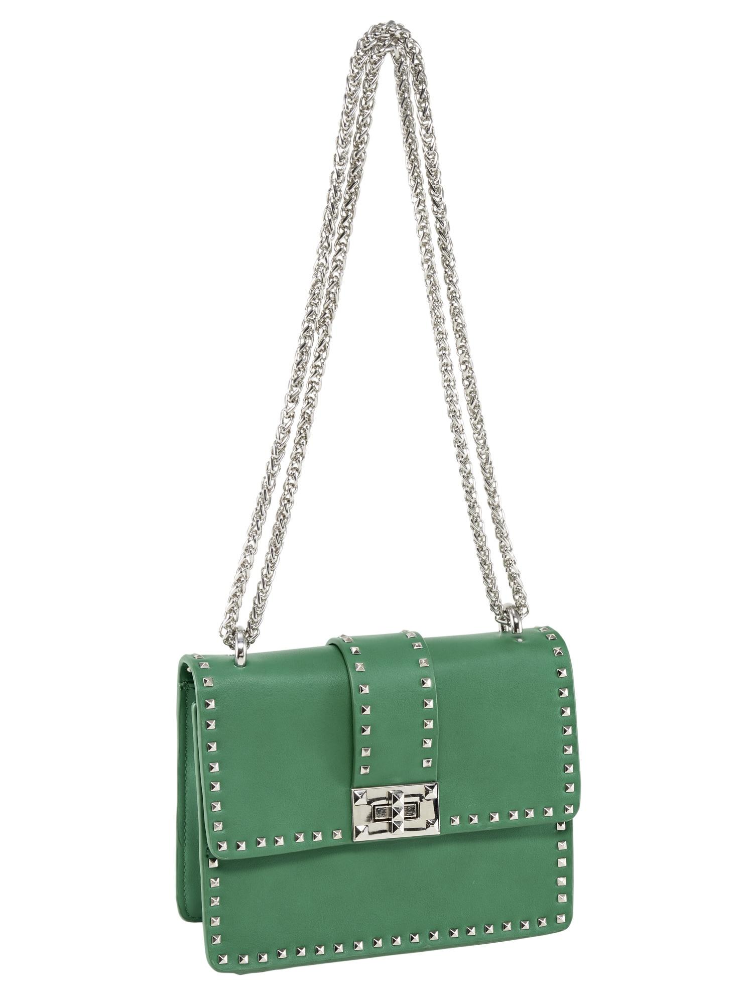 Heine Tasche mit Nietenbesatz   Taschen > Handtaschen > Sonstige Handtaschen   Grün   Polyester   Heine