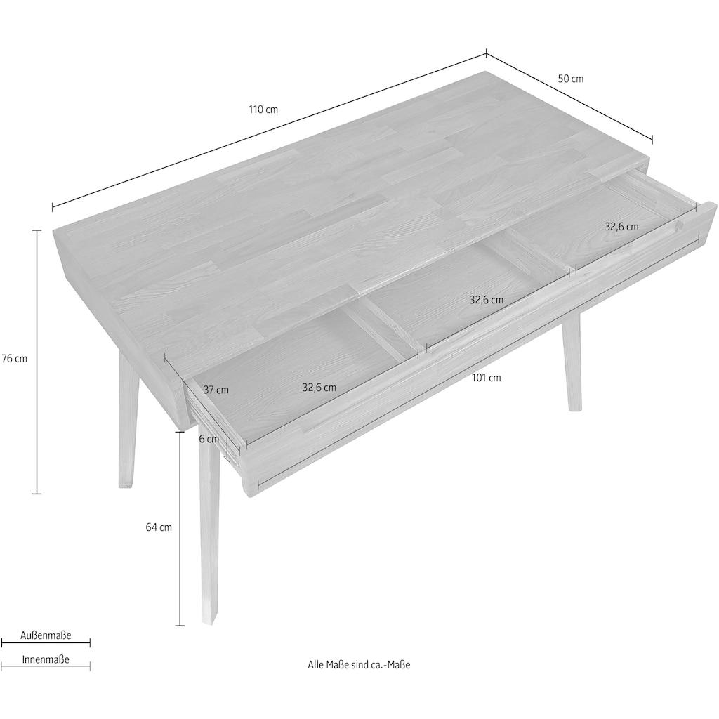 Home affaire Schreibtisch »Albert«, aus massivem Eichenholz, mit vielen Stauraummöglichkeiten, Breite 110 cm