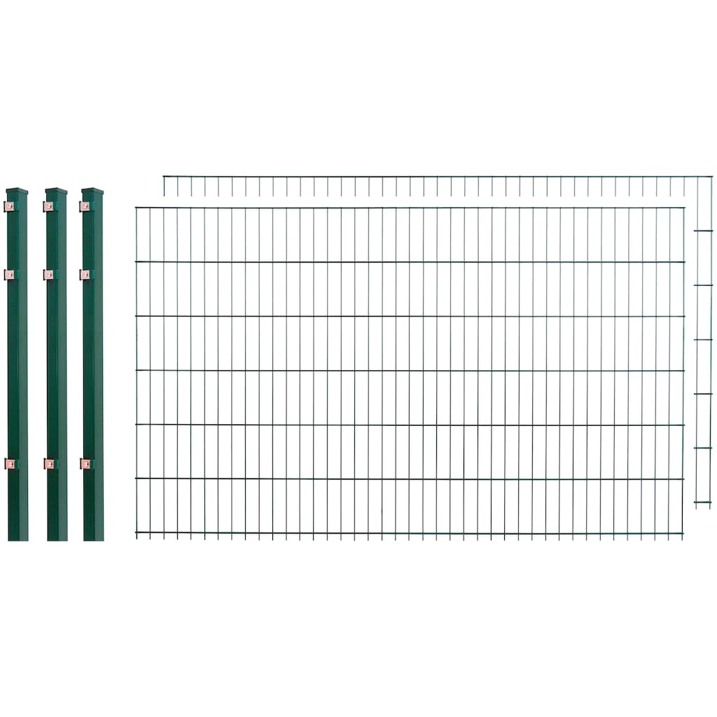 Doppelstabmattenzaun , 2 Stk., LxH: 4x1,2 m, grün