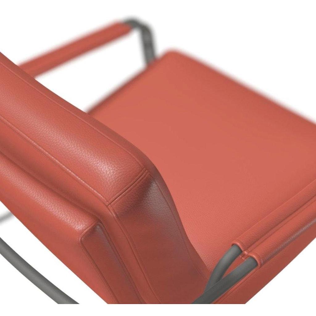 bert plantagie Loungesessel »TIBBE«, Armlehne mit Leder bezogen