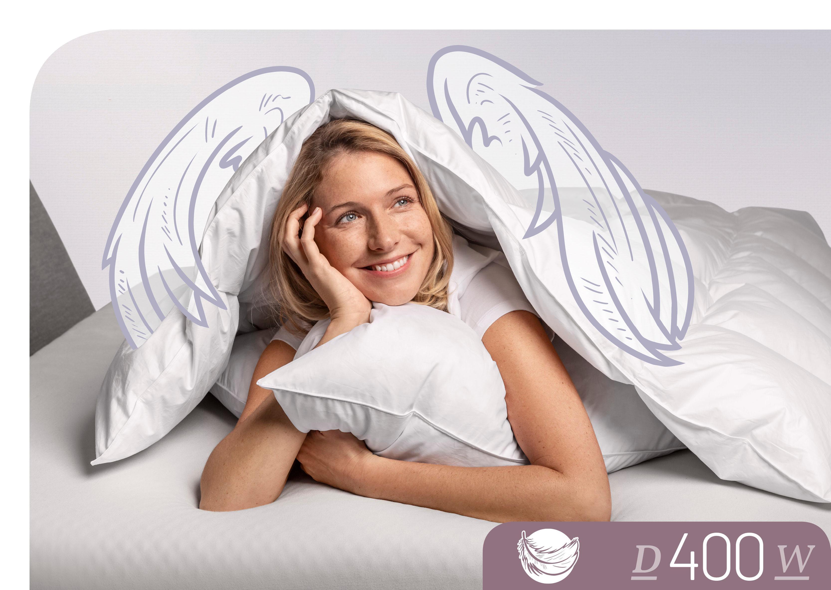 Daunenbettdecke D400 Schlafstil warm Füllung: 90% Daunen 10% Federn Bezug: 100% Baumwolle