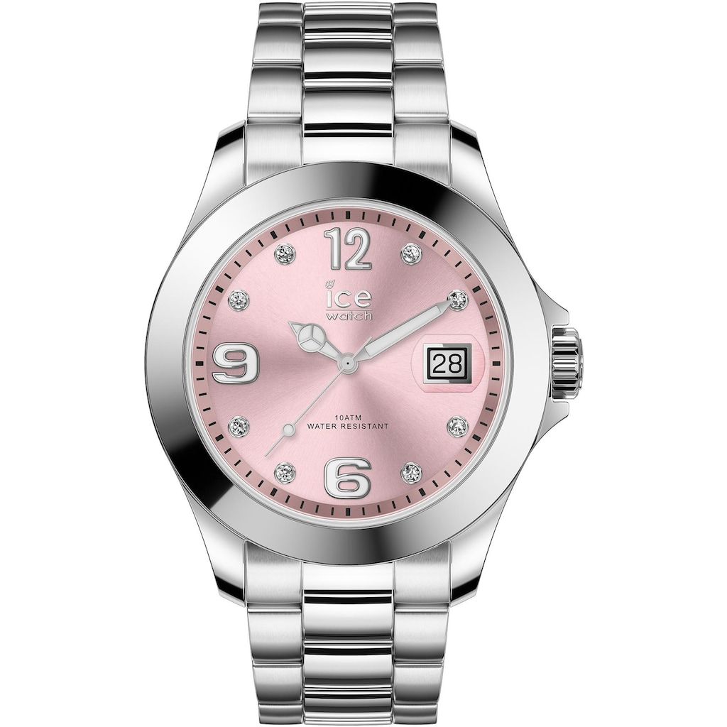 ice-watch Quarzuhr »ICE steel classic - Light pink silver - Stones - Medium - 3H, 16776«