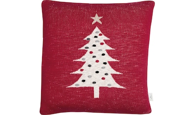 TOM TAILOR Dekokissen »Knitted Red Tree«, Gestrickte Kissenhülle mit Weihnachtsbaum-Motiv kaufen