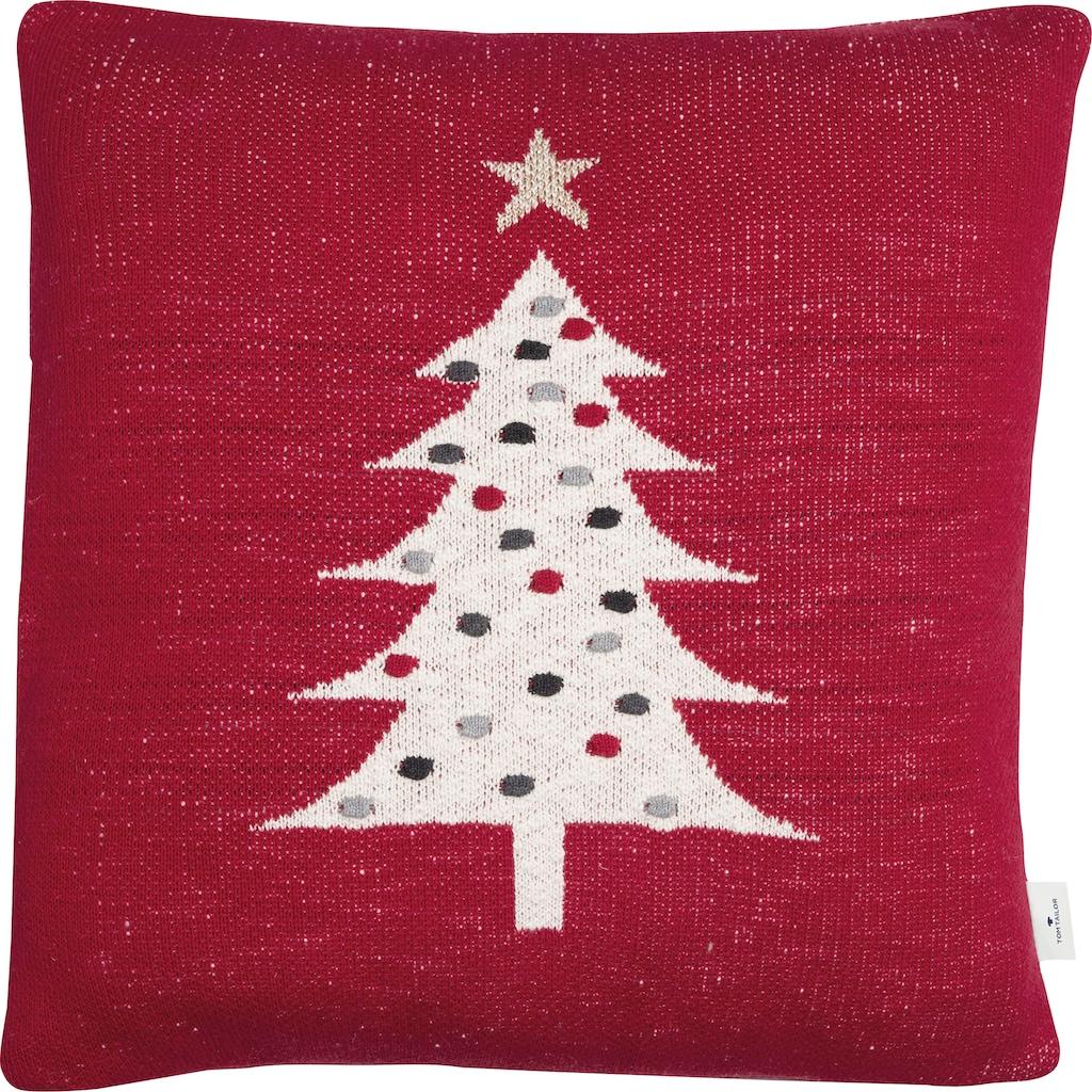 TOM TAILOR Dekokissen »Knitted Red Tree«, Gestrickte Kissenhülle mit Weihnachtsbaum-Motiv
