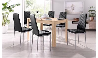 my home Essgruppe »Lynn + Brooke«, (Set, 5 tlg.), mit Tisch in Eichefarben Sägerau, Breite 120 cm kaufen