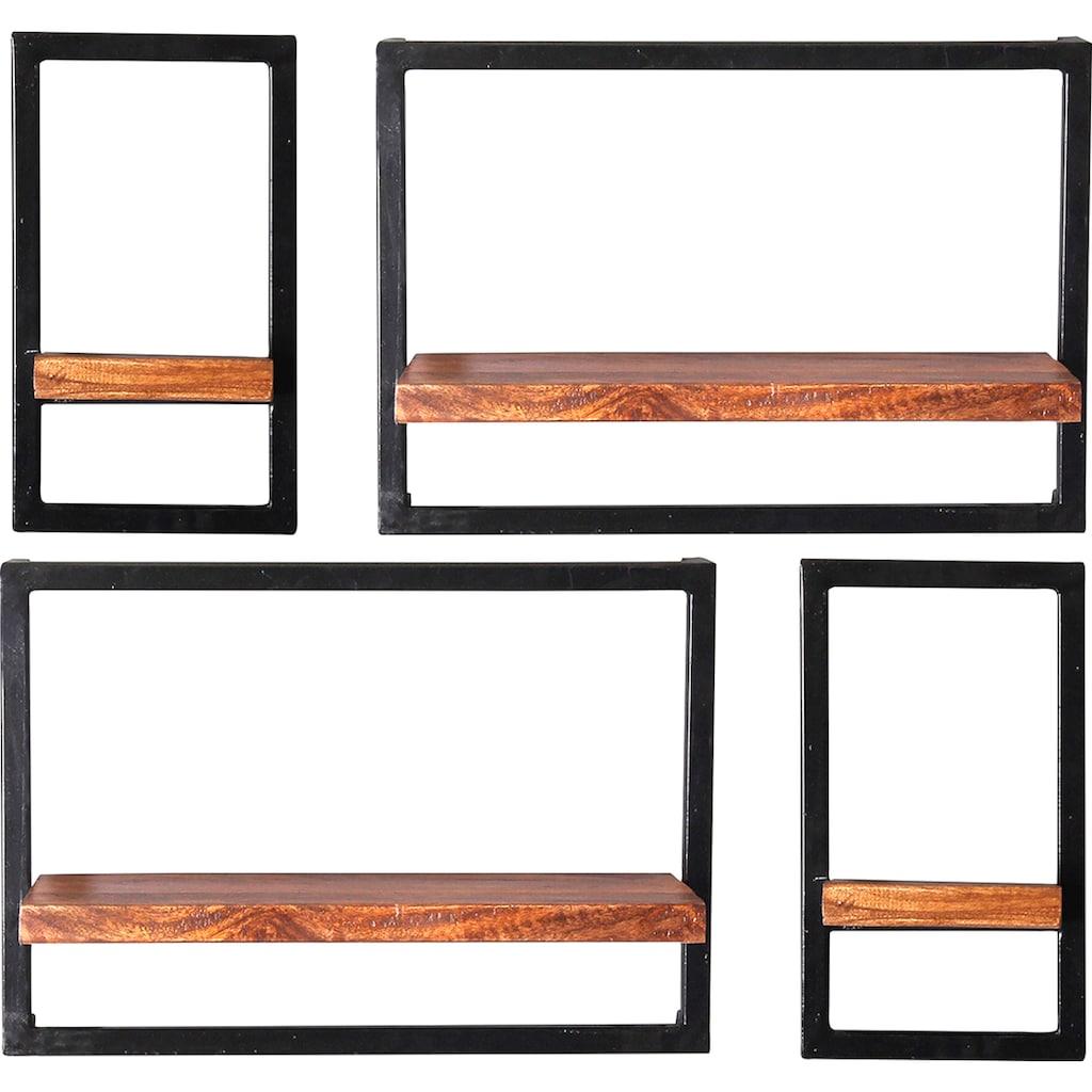 SIT Wandregal »Panama«, (Set, 4 St.), Regalset im Industrial Stil, Mangoholz und Metall