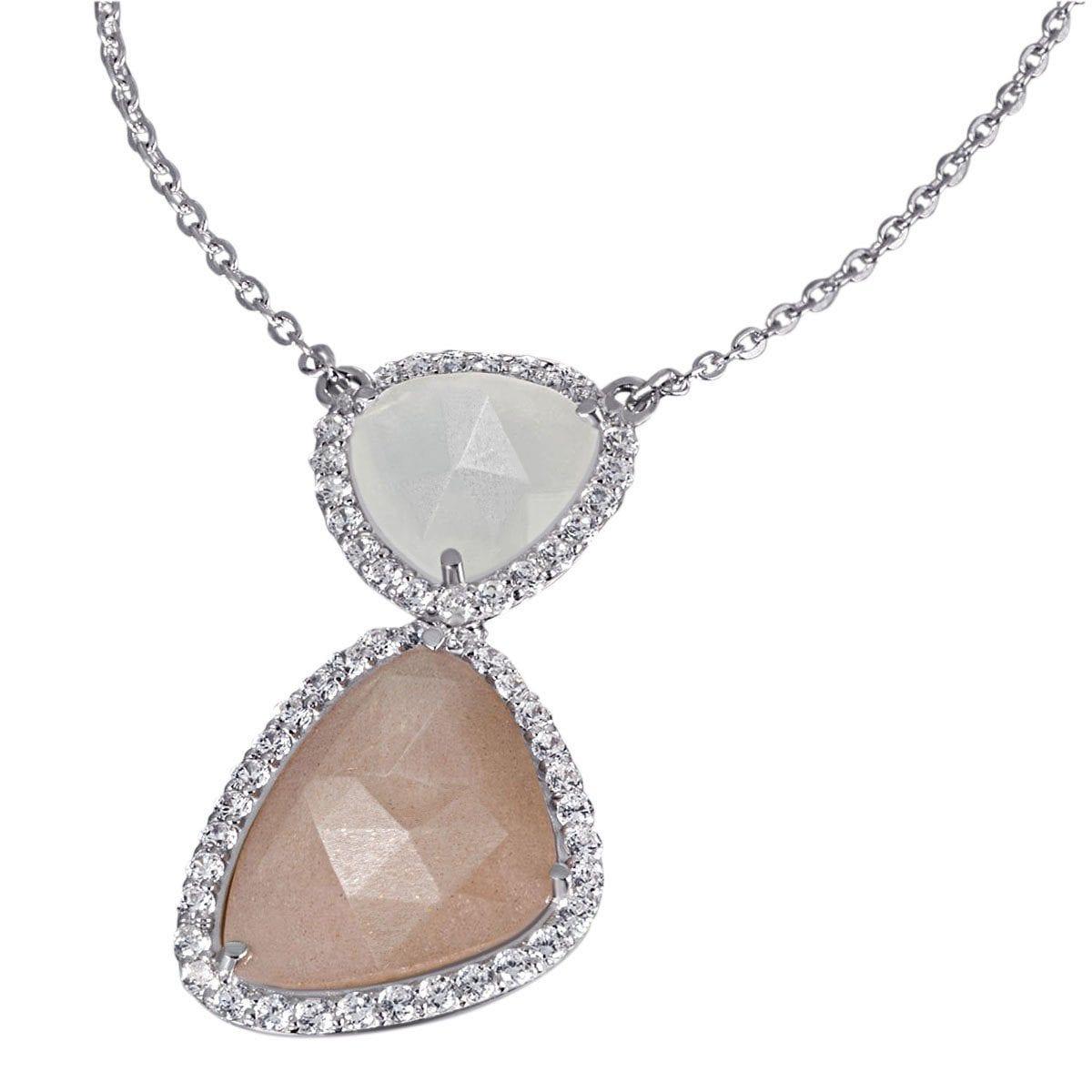 goldmaid Collier 925/- Silber 2 Mondsteine 55 weiße Zirkonia | Schmuck | Weiß | Goldmaid