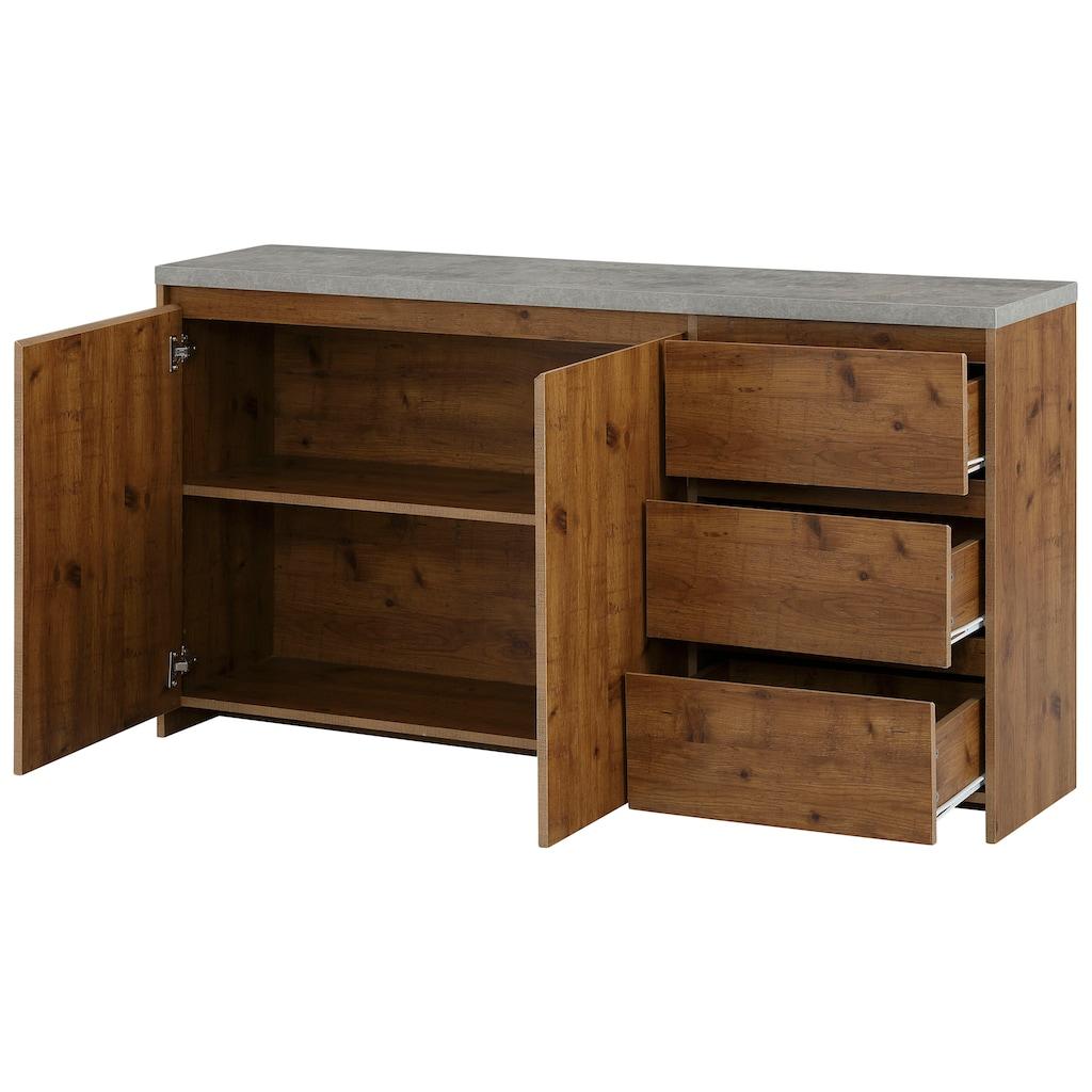 Home affaire Sideboard »Maribo«, im modernen Landhaus-Stil, mit schöner Betontopplatte, Breite 150 cm