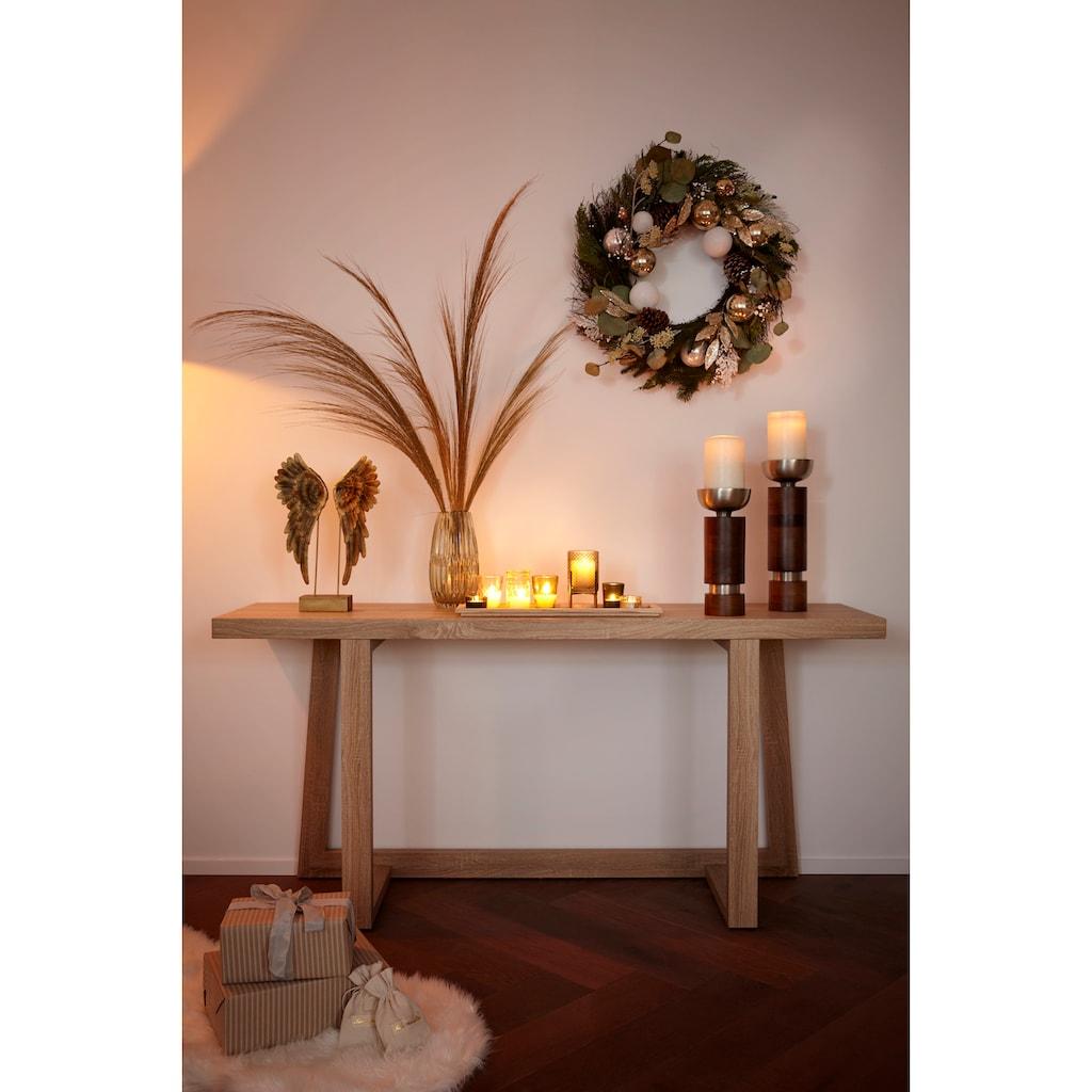 Kerzenleuchter, aus Holz und Aluminium, Ø ca. 12 cm