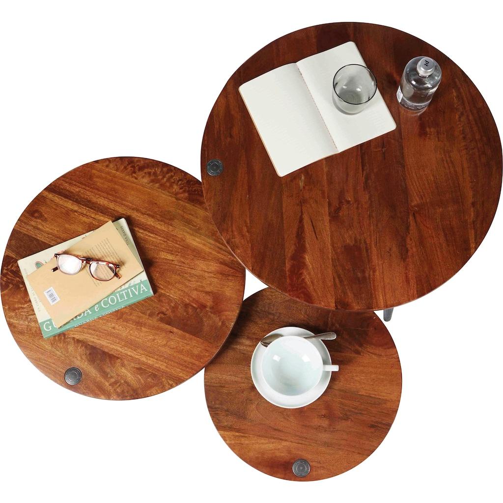 TOM TAILOR Couchtisch »T-WOOD TABLE LARGE«, großer Beistelltisch mit Knopfdetail, dunkles Mangoholz und schwarze Beine