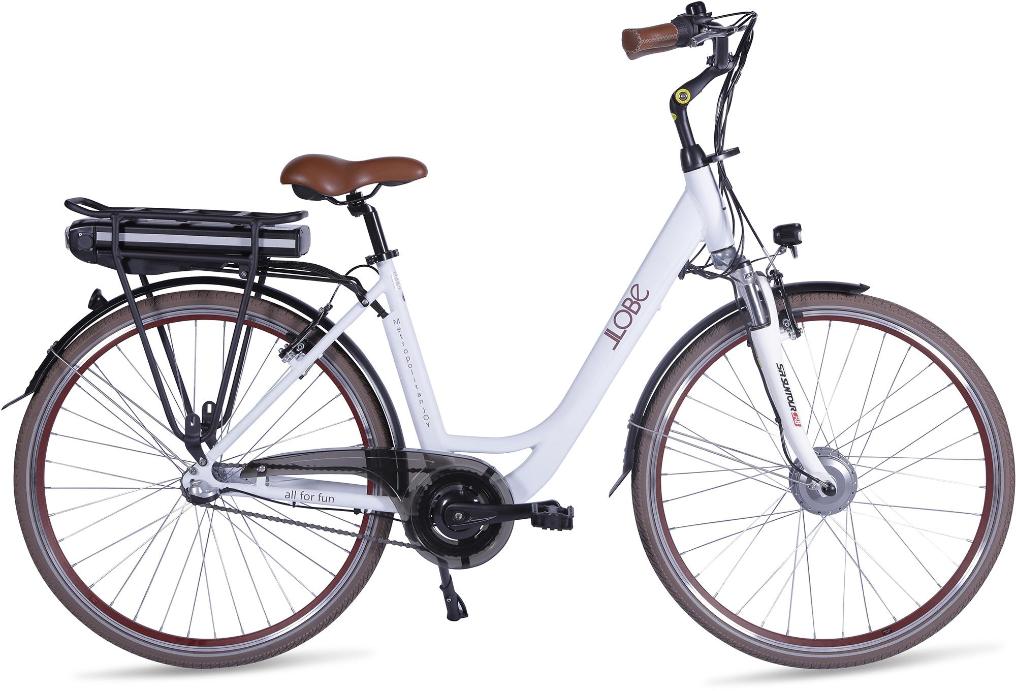 LLobe E-Bike Metropolitan JOY modernwhite 8Ah weiß Damen Damenfahrräder Fahrräder Zubehör
