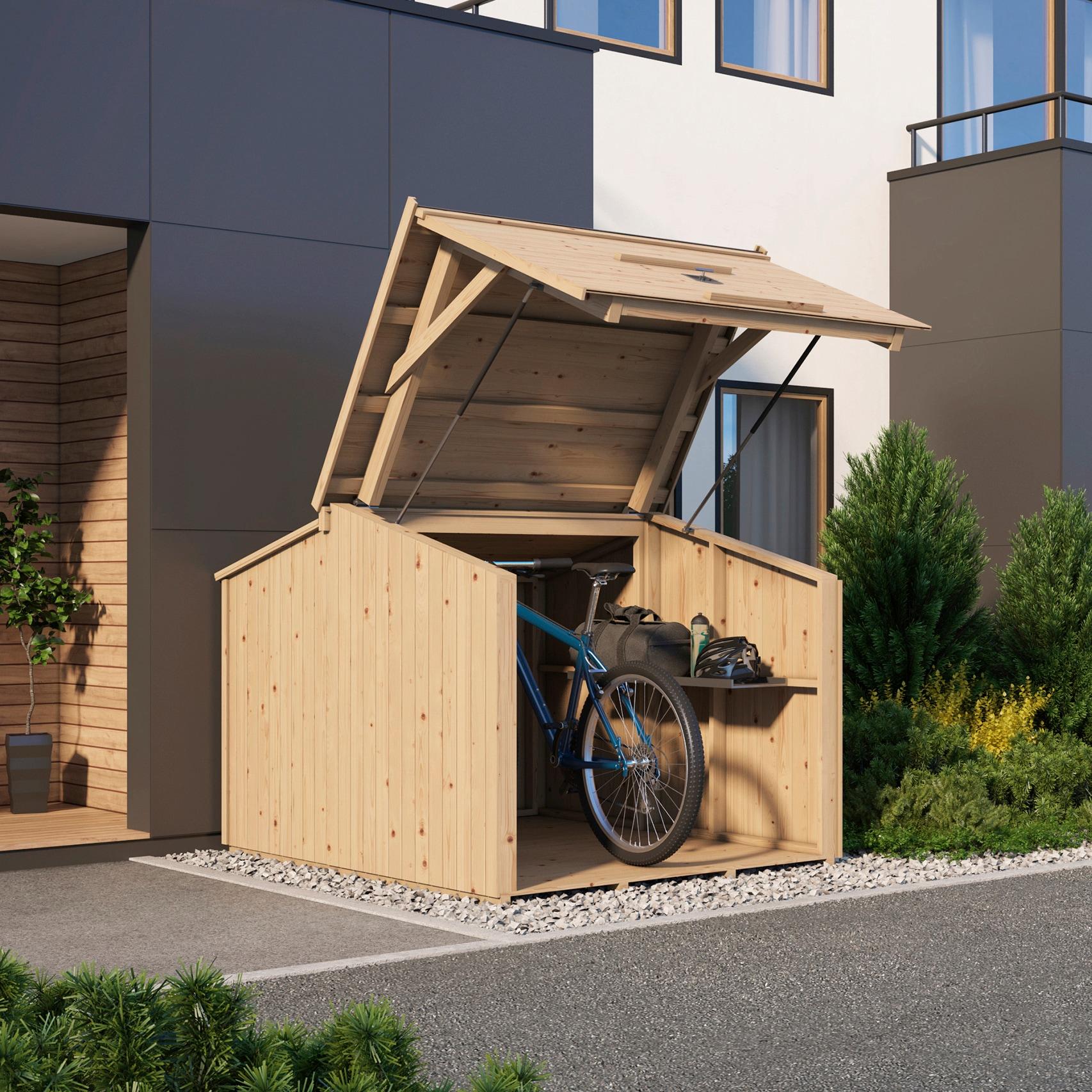 Nordic Holz Fahrradbox Bikebox, für 3 Fahrräder, BxTxH: 153x204x146 cm beige Garten- Kissenboxen Gartenmöbel Gartendeko