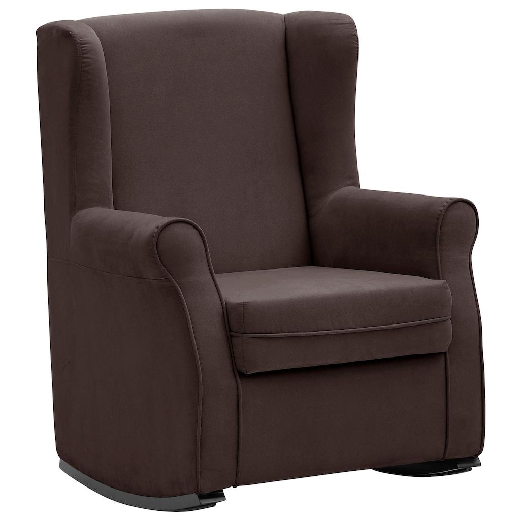 Home affaire Schaukelstuhl »Warin«, mit schönem Luxus-Microfaser Bezug und Holzbeinen, Sitzhöhe 48 cm