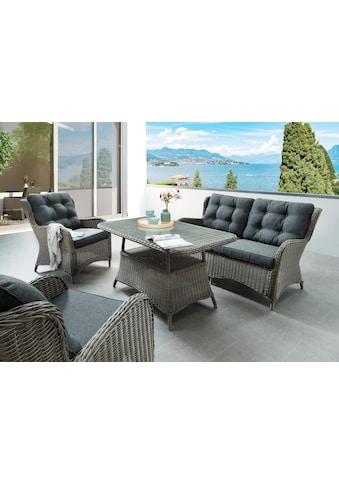 DESTINY Loungeset »Cordoba«, 4 - tlg., 2 Sessel, Sitzbank, Tisch 120x72 cm, Alu/Polyrattan kaufen