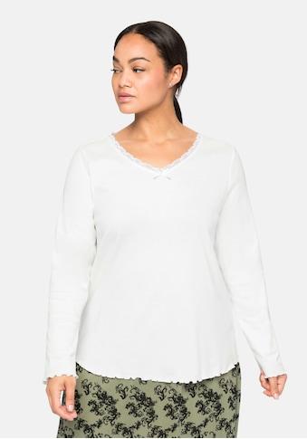 Sheego Langarmshirt, mit Spitze am V-Ausschnitt kaufen