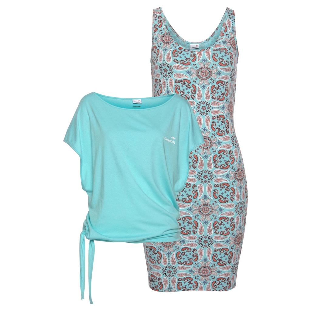 KangaROOS Jerseykleid, (Set, 2 tlg., mit T-Shirt), zum einzeln und übereinander Tragen