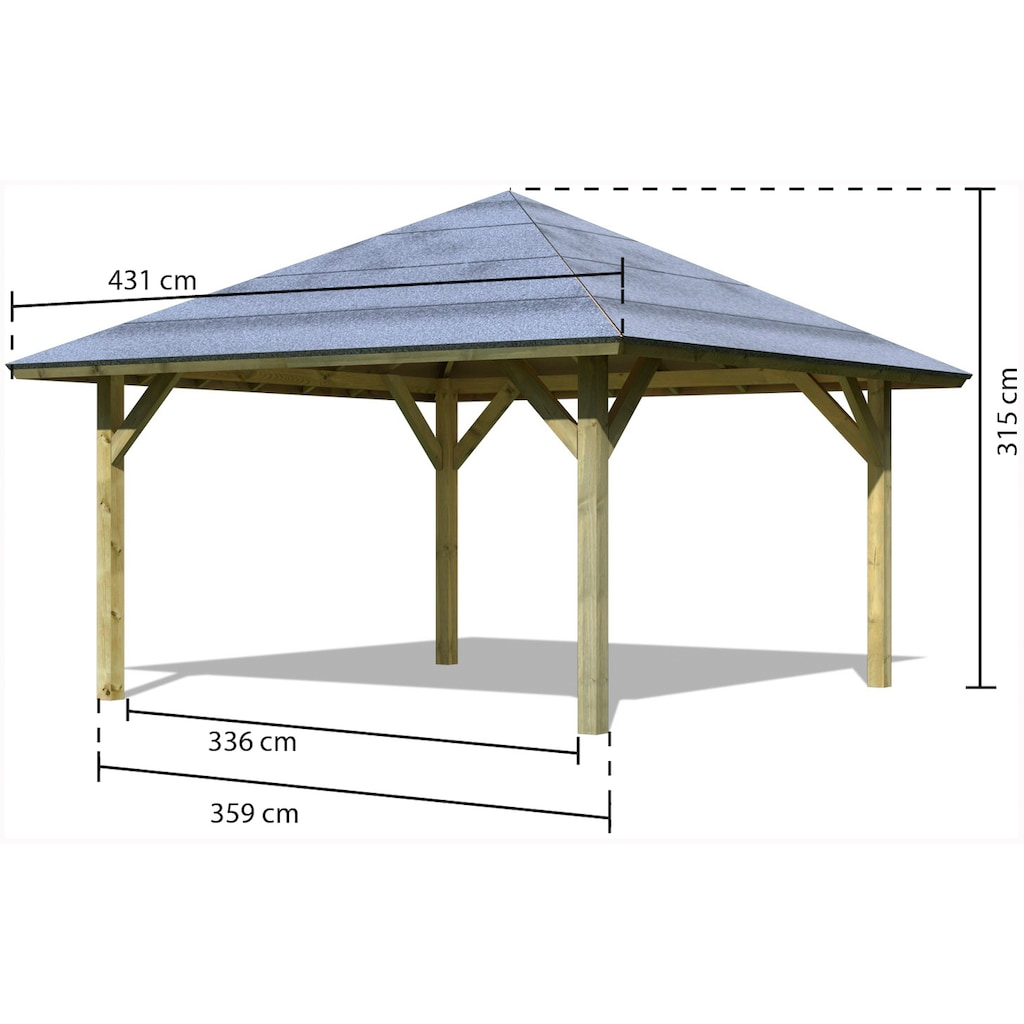 Karibu Holzpavillon »Holm 1«, BxT: 431x431 cm