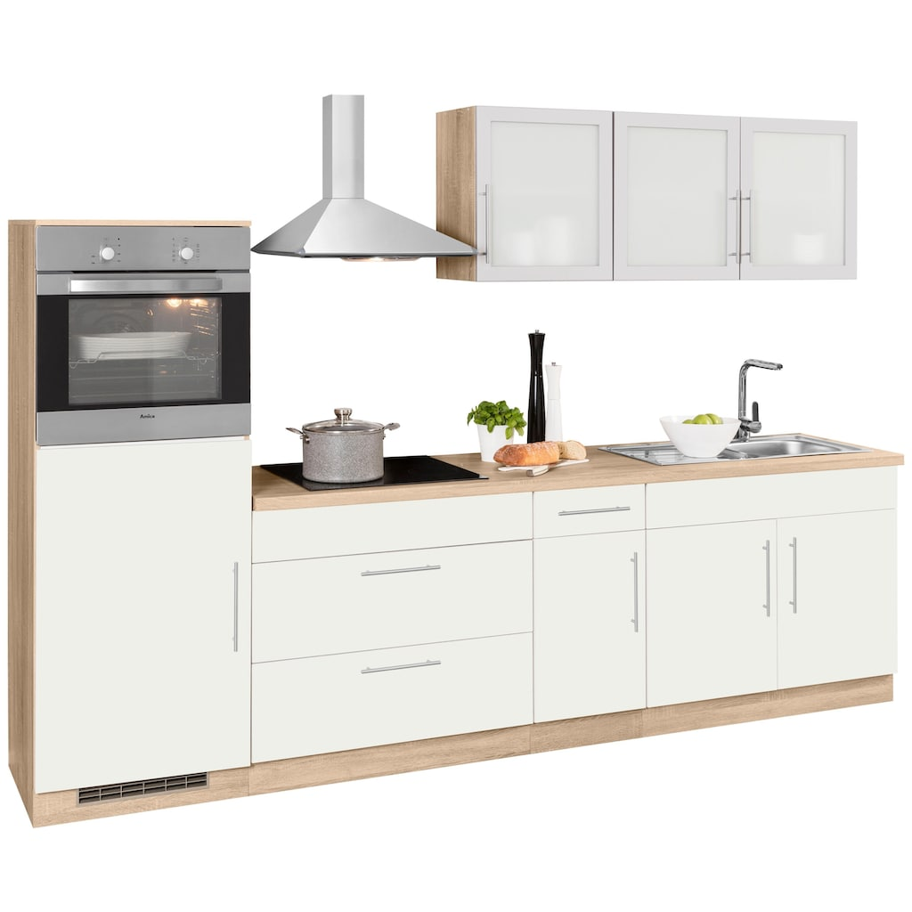wiho Küchen Küchenzeile »Aachen«, mit E-Geräten, Breite 290 cm