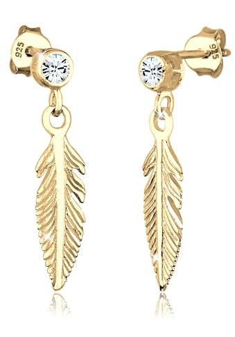 Elli Paar Ohrhänger »Ohrhänger Feder mit Swarovski® Kristalle Silber« kaufen