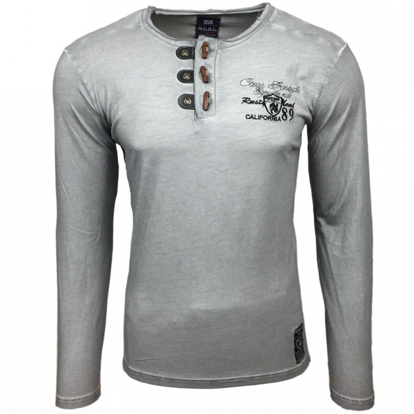 Rusty Neal Langarmshirt mit modischer Knopfleiste A1-RN10119 | Bekleidung > Shirts > Langarm Shirts | Grau | Baumwolle | Rusty Neal