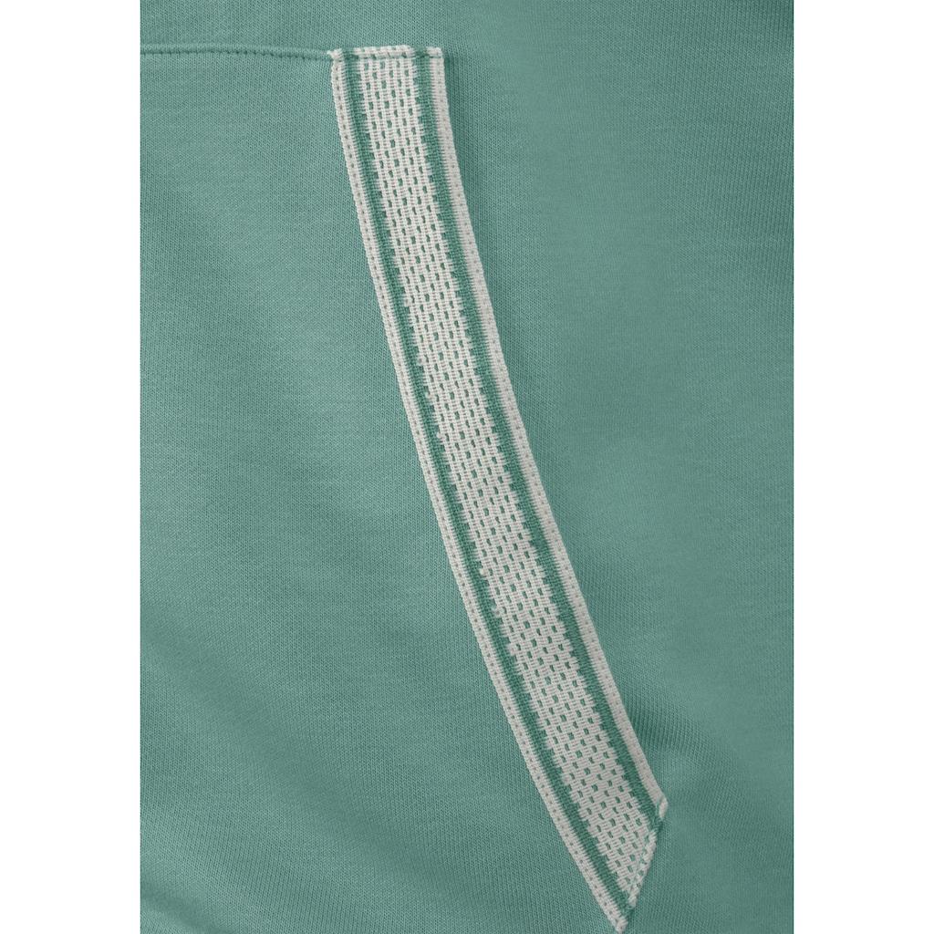 Bench. Kapuzensweatjacke, mit gestreiften Bündchen und Glanzprint