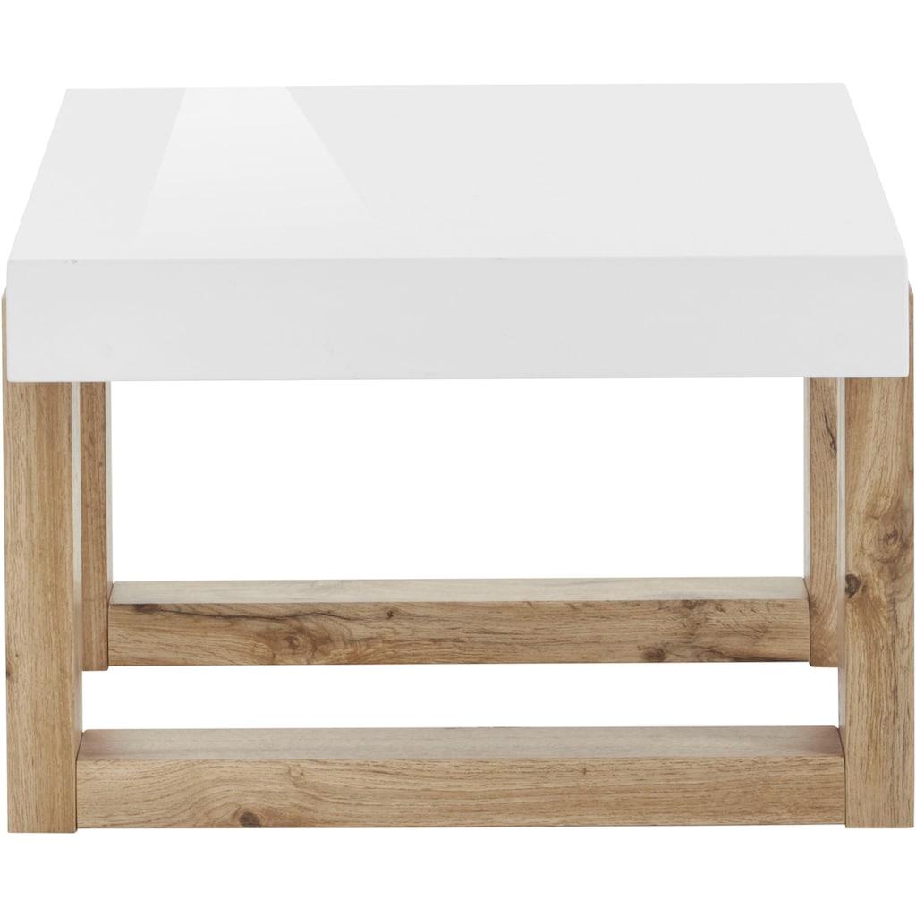 INOSIGN Couchtisch »Solid«, mit schönem Holzgestell und hochglanzfarbener, weißer Tischplatte, in zwei unterschiedlichen Größen