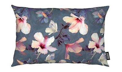 Juniqe Dekokissen »Butterflies & Hibiscus Flowers«, Weiches, allergikerfreundliches Material kaufen