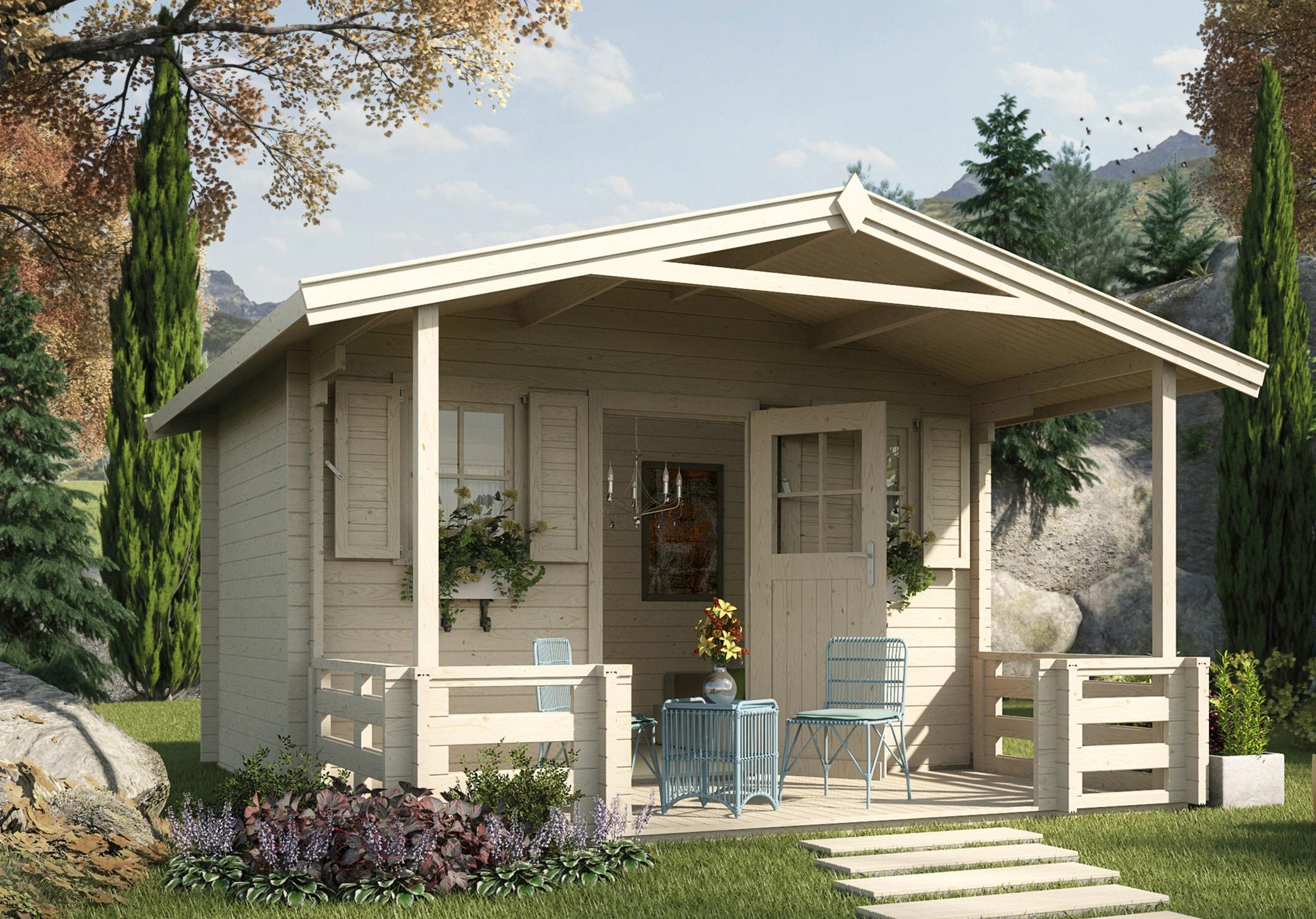 WEKA Set: Gartenhaus »138 B Gr.2«, BxT: 450x590 cm, inkl. Terrasse, Vordach  und Fußboden online bestellen | BAUR