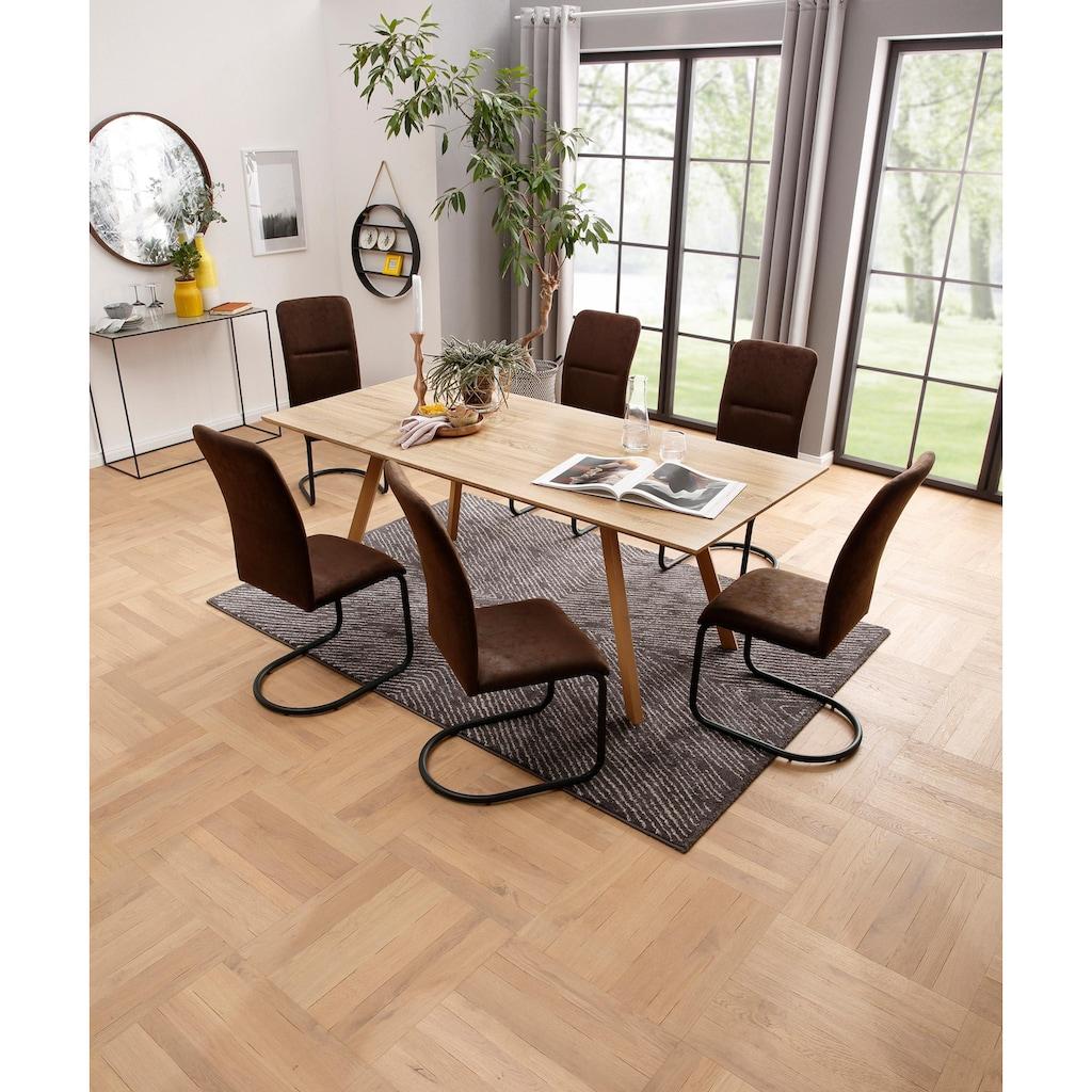 my home Essgruppe »Missy«, (Set, 7 tlg.), aus Holzwerkstoff, bestehend aus Juncus Esstisch 200 cm und 6 Amanella Stühlen