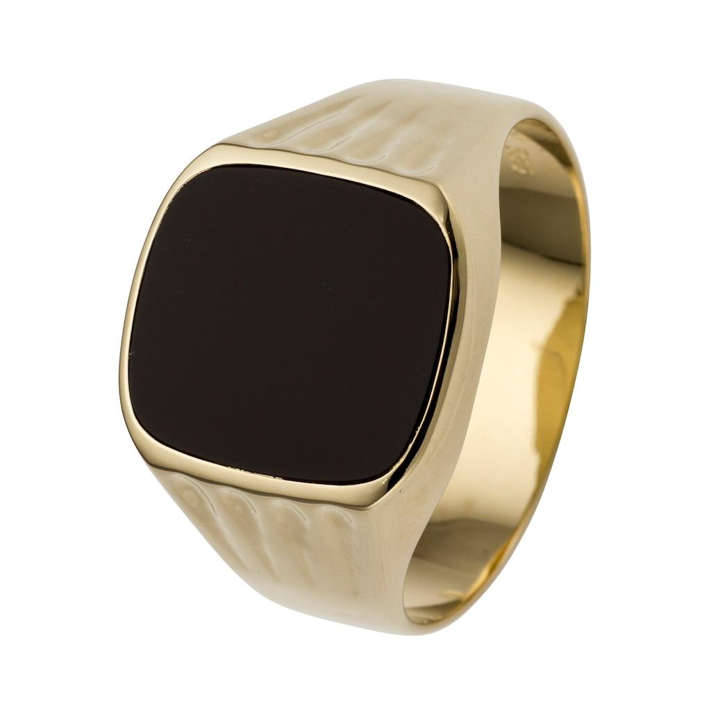 JOBO Fingerring, 585 Gold mit Onyx