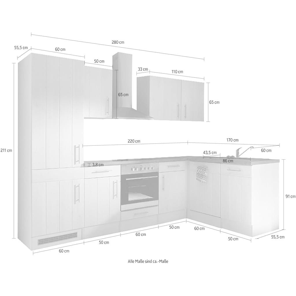 RESPEKTA Winkelküche »Ulm«, mit E-Geräten, Stellbreite 280 x 172 cm
