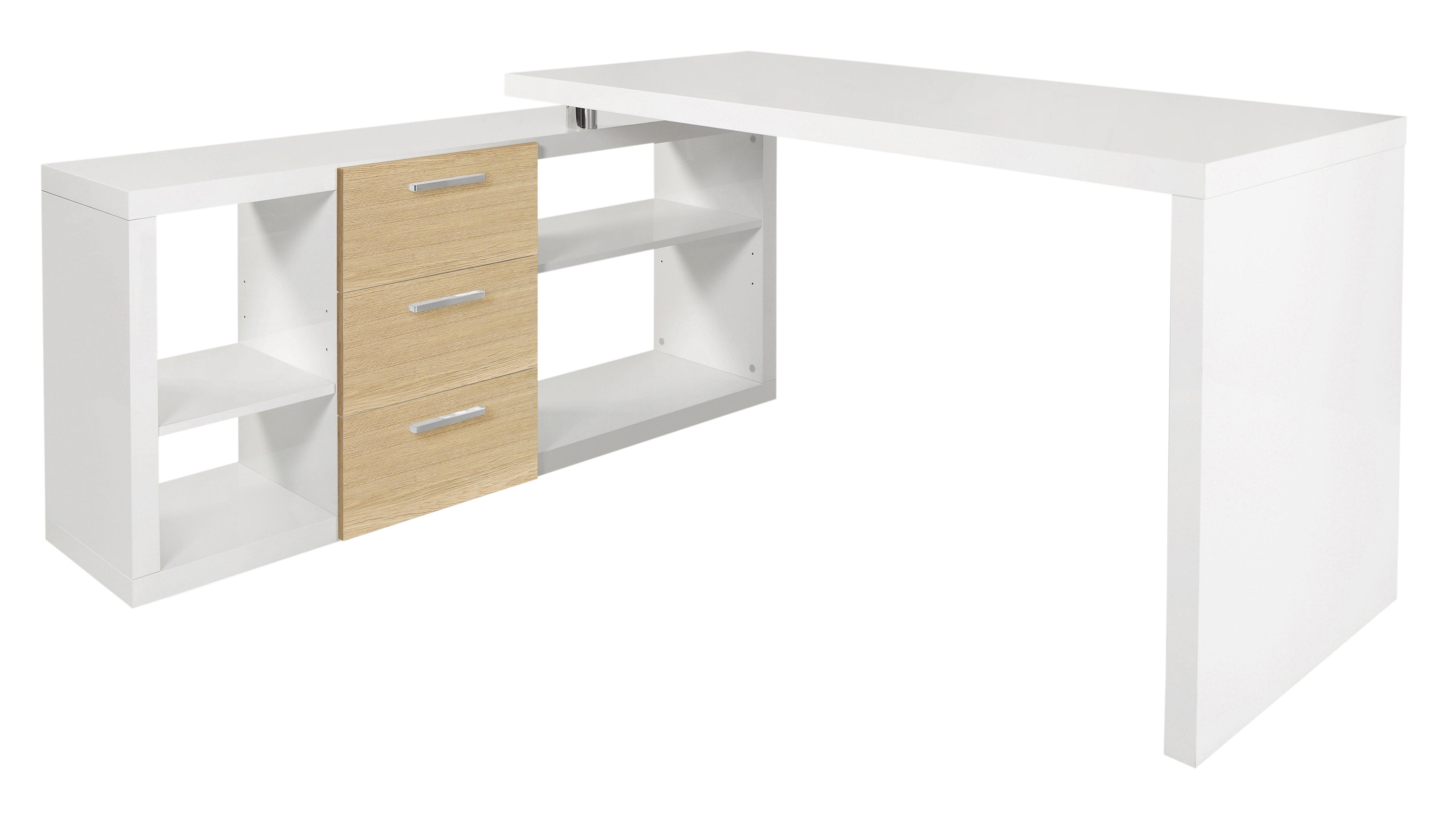 Eck-Schreibtisch, HMW, »Kopenhagen«, mit Regalelement