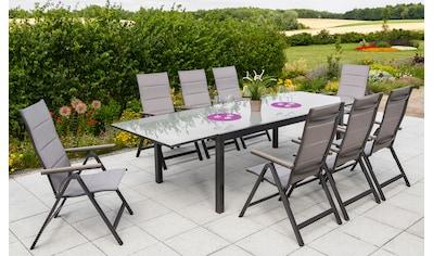 MERXX Gartenmöbelset »Trivero«, 9 - tlg., 8 Klappsessel, Tisch 300 x100 cm, Alu/Textil kaufen