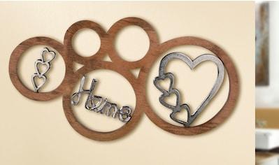 GILDE Wanddekoobjekt »Home«, Wanddeko, aus Holz und Aluminium, mit Schriftzug, Herz Form, ideal im Esszimmer & Wohnzimmer kaufen