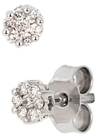 JOBO Paar Ohrstecker, 585 Weißgold mit 14 Diamanten kaufen