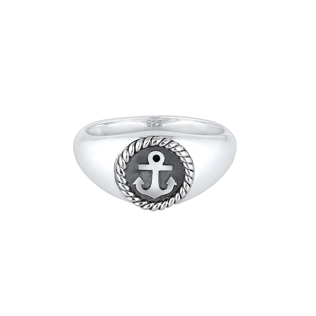 Kuzzoi Siegelring »Siegelring Anker Anchor Maritim Oxid 925er Silber«