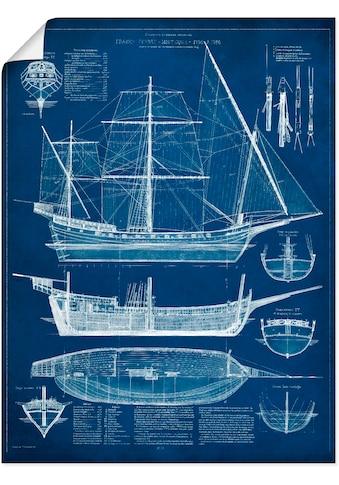 Artland Wandbild »Entwurf für ein Antikes Schiff I«, Boote & Schiffe, (1 St.), in vielen Größen & Produktarten - Alubild / Outdoorbild für den Außenbereich, Leinwandbild, Poster, Wandaufkleber / Wandtattoo auch für Badezimmer geeignet kaufen