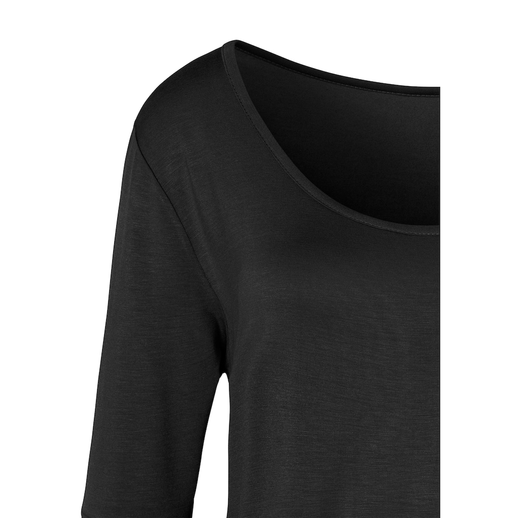 LASCANA 3/4-Arm-Shirt, mit breitem Ärmelsaum