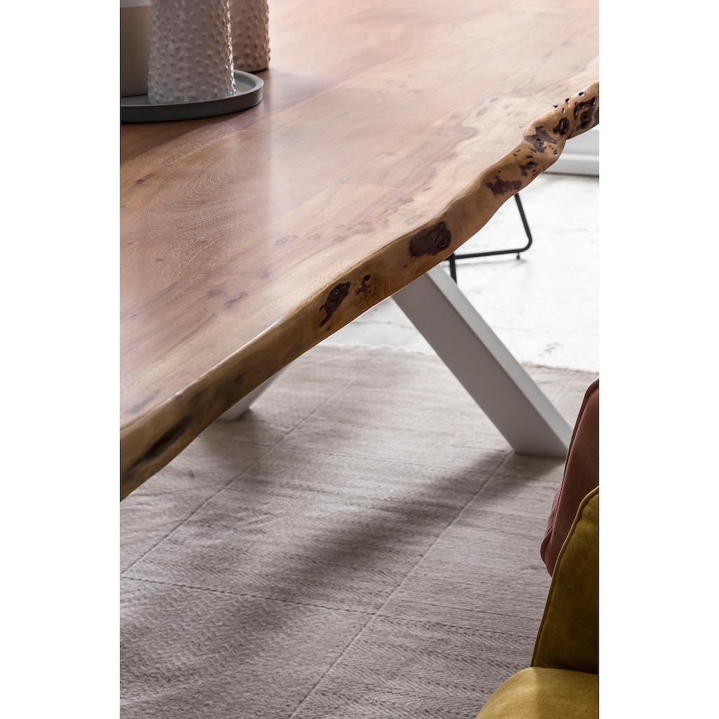 Premium collection by Home affaire Esstisch »Manhattan«, mit Massivholzplatte Akazie lackiert, Baumkantentisch im Landhaus Stil, Baumstammtisch mit weißem Gestell