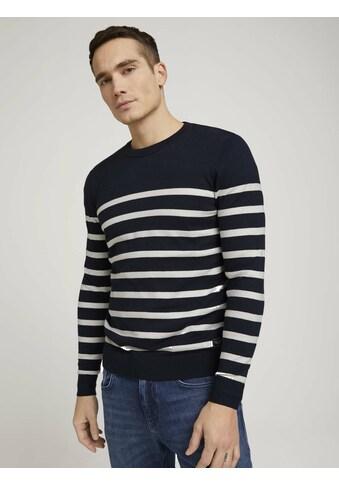 TOM TAILOR Strickpullover »gestreifter Pullover mit Bio-Baumwolle« kaufen