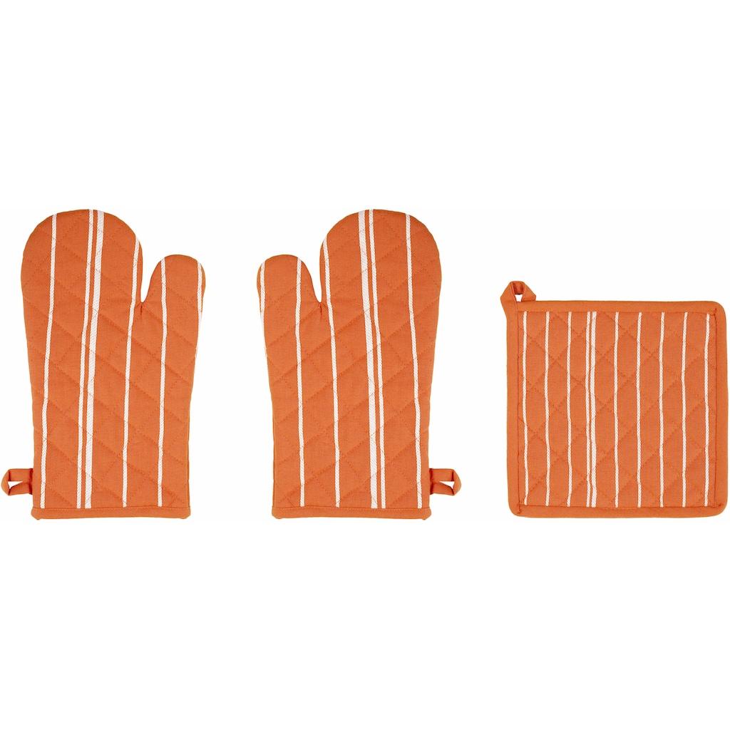 stuco Topfhandschuhe »Streifen«, (Set, 3 tlg., bestehend aus 2x Ofenhandschuh, 1x Küchengreifhilfe)