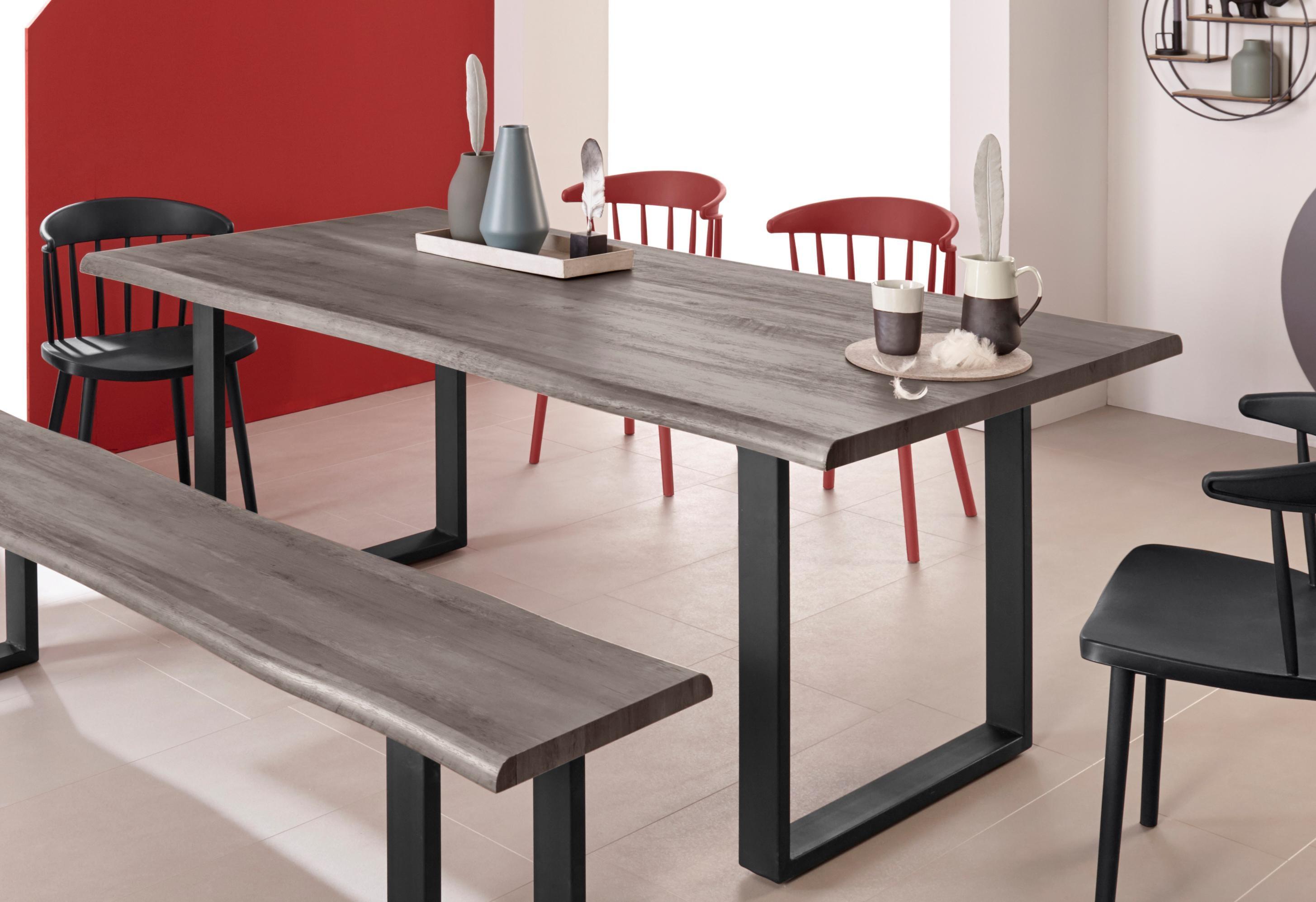 INOSIGN Baumkantentisch Selina mit schönem Metallgestell und folierte Holzoptik auf der Tischplatte