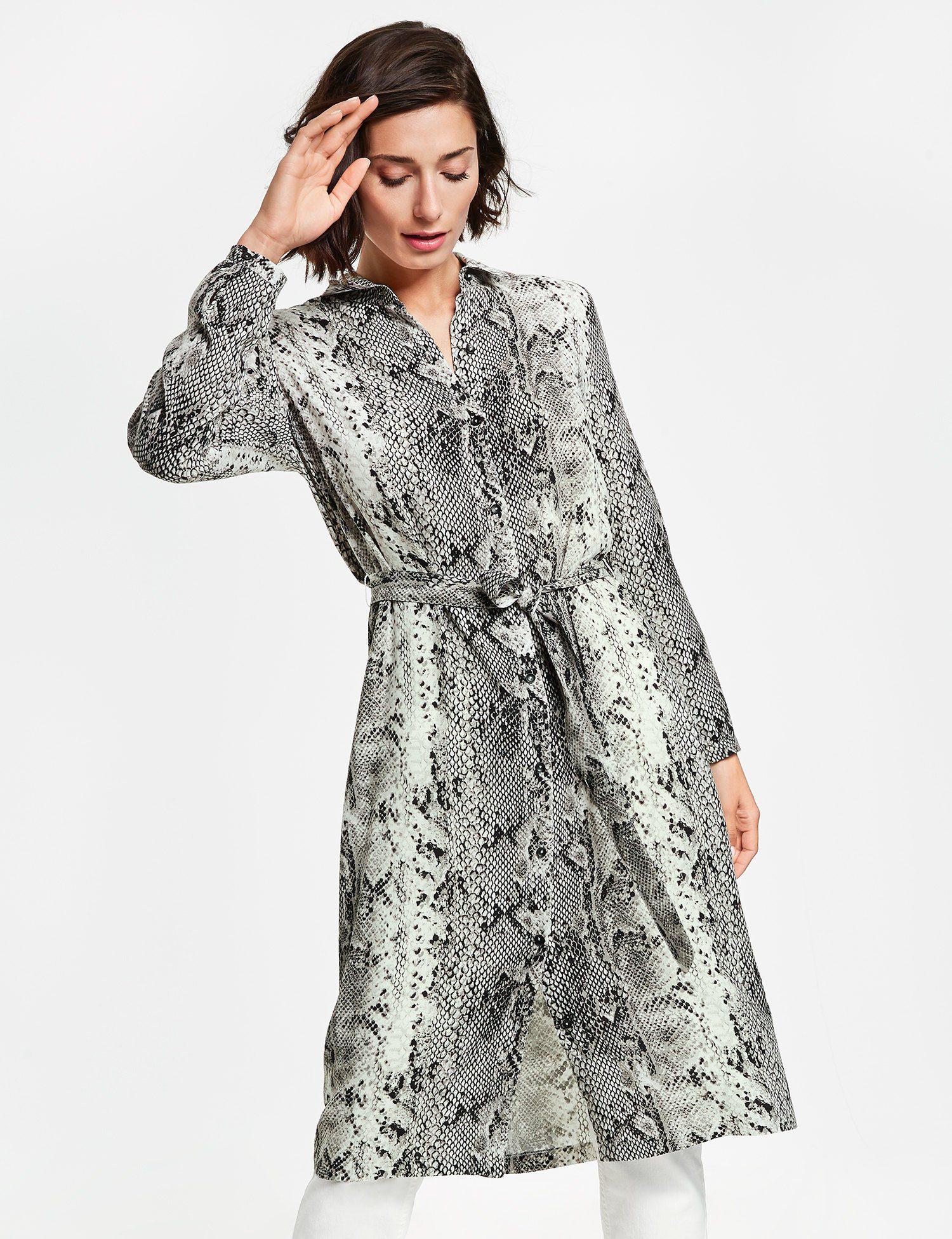 Taifun Bluse 1/1 Arm Hemdblusenkleid mit Schlangen-Print