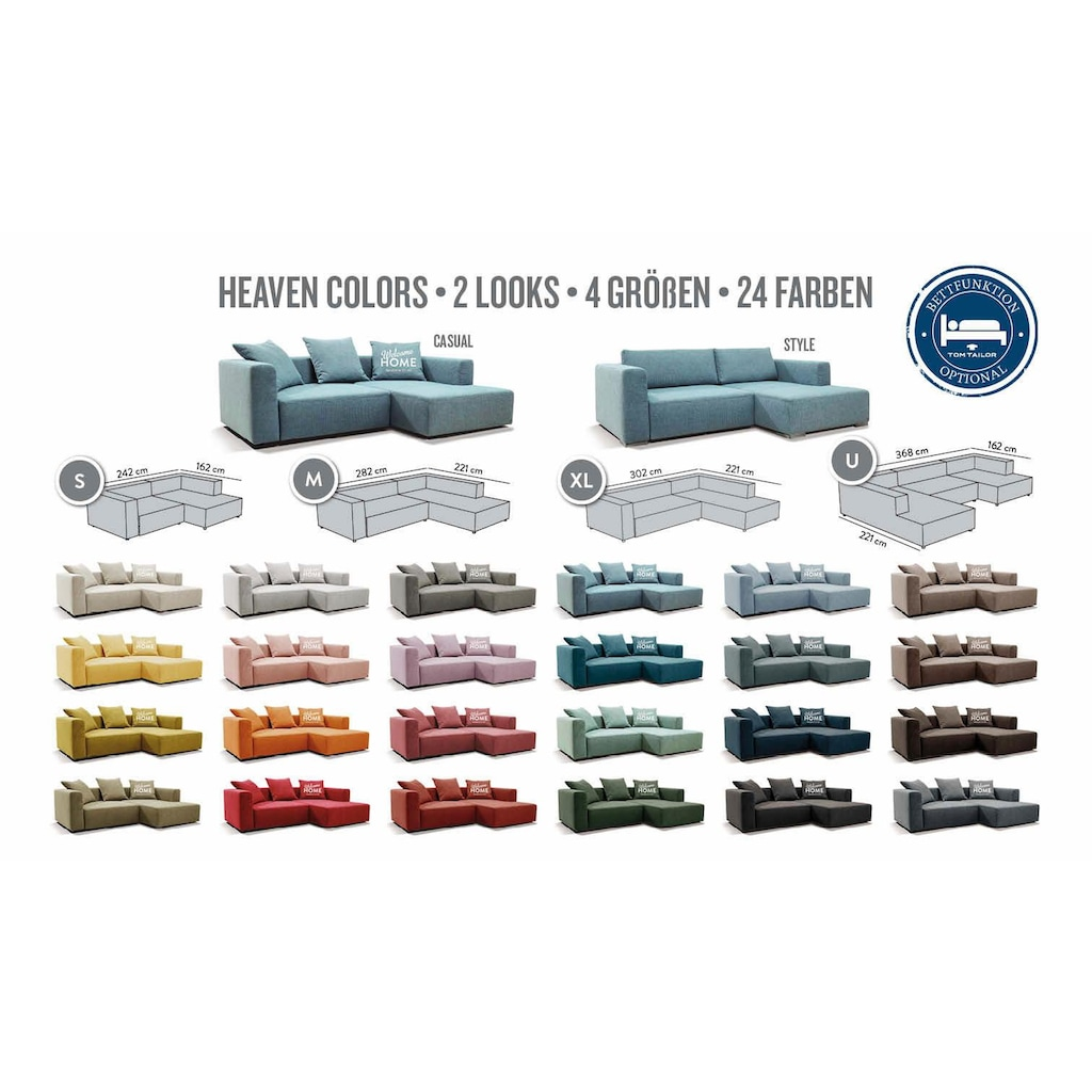 TOM TAILOR Hockerbank »HEAVEN CASUAL/STYLE«, aus der COLORS COLLECTION, Breite 109 cm
