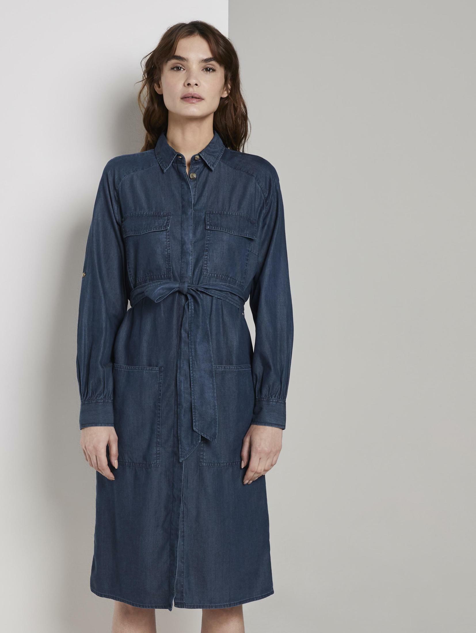 TOM TAILOR Jeanskleid Jeanskleid mit Bindegürtel Damenmode/Bekleidung/Kleider/Jeanskleider