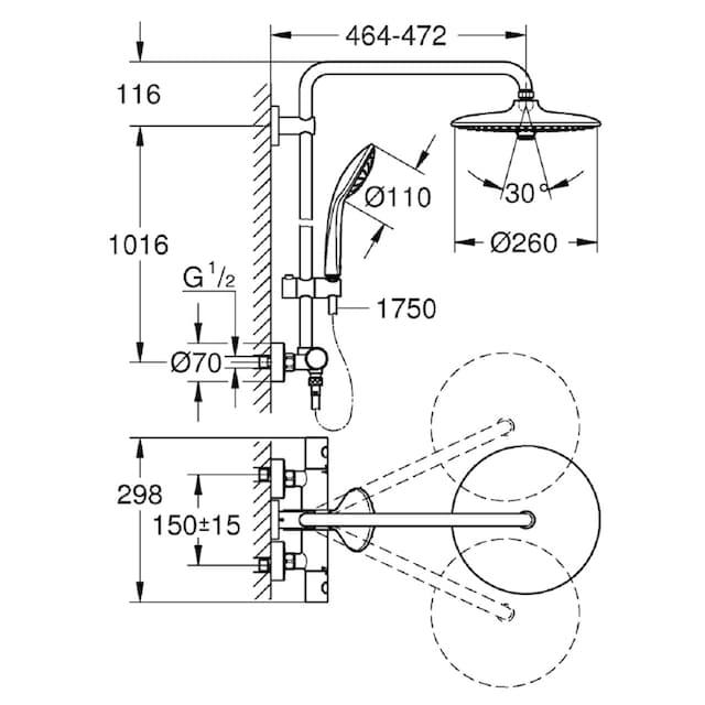 GROHE Brausegarnitur »Euphoria System 260«, für Wandmontage, mit Thermostatbatterie